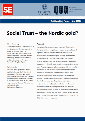 RE No. 11: Social Trust – the Nordic gold?